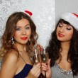 Girlfriends at christmas party — Stock Photo #17443787
