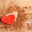 Heart shape made ??of cocoa — ストック写真