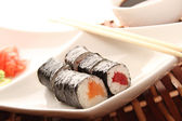 Sushi on a plate — Stock fotografie