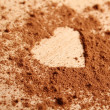 Heart shape made ??of cocoa — Lizenzfreies Foto