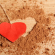 Heart shape made ??of cocoa — Stockfoto