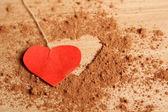 Heart shape made ??of cocoa — Stock Photo