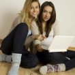 Two attractive friends at home with laptop — Stock Photo