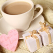 Coffee and gifts for loved ones — Stock Photo