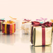Lots of colorful gift boxes — Stock Photo