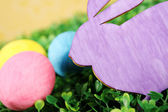 Bunny with colorful easter eggs — Stock Photo