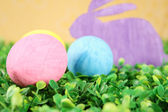 Rabbit with colorful easter eggs — Stock Photo