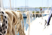 Ropes on the yacht — Stock Photo