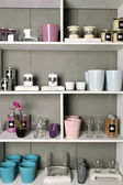 Shelves with goods — Stock Photo