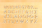 Wooden alphabet. Include numerals! — Stock Photo