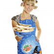 Young woman prepared cookies for Xmas — Stock Photo #4214723