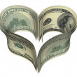 Valentine heart shape made by dollars — Stock Photo #1751750