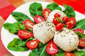 Mozzarella, arugula & tomato salad — Stock Photo