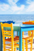 Greek restaurant by the sea — Stock Photo