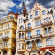 Stock Photo: Building facades in Karlovy Vary, Czech Republic