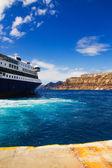 Ferryboat at Santorini port — Stock Photo