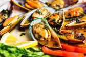 Steamed mussels, selective focus — Stock Photo