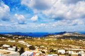 Panoramic view of the caldera, Fira and Oia from Pyrgos village, Santorini — Stock Photo