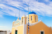 Small yellow church at sunset, Oia, Santorini — Stock Photo