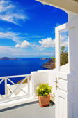 Details of Fira village, Santorini, Greece (view of the caldera in the background) — Stock Photo