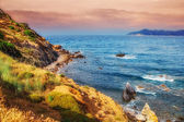 HDR image of a secluded beach on Skiathos island on a cloudy day — Stock Photo