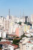 Letecký pohled na budov na třídě paulista avenue — Stock fotografie