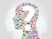 Human head with question mark — Stock Vector