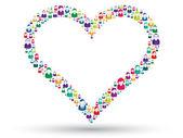 Corazón social — Vector de stock