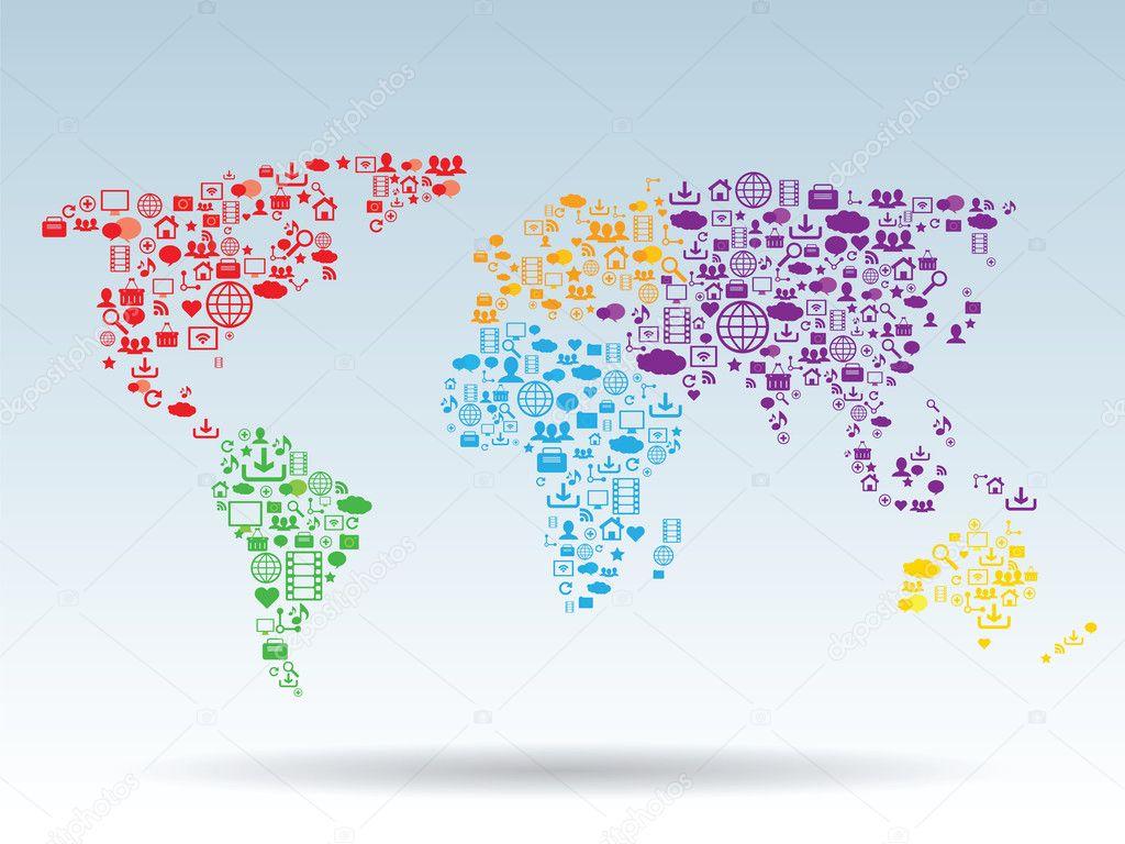 World map stock vector cifotart 24613877 - Mappa del mondo contorno ks2 ...