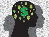 Menselijk hoofd met geldsymbool — Stockvector
