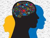 Brain in the social media icons — Stock Vector