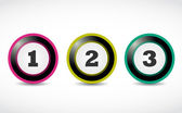 One two three numbers buttons — Stock Vector