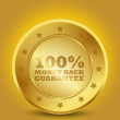 Golden 100% Money Back Guarantee — Imagen vectorial