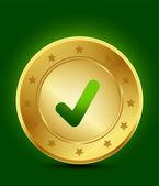 Golden tick symbol — Stock Vector