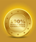 Golden 100% Money Back Guarantee — Stock Vector