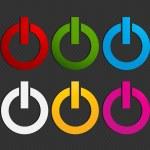 Colorful power button set vector — Stock Vector