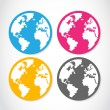 Set of colorful globe stickers — Stock Vector
