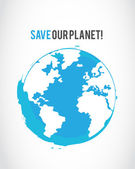 Grunge save the planet poster — Stock Vector
