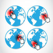 Set of pointing global disasters — Stock Vector