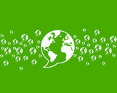 Verde de pensamiento, comunicación de medio mundo — Vector de stock