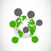 Burbujas de pensamiento con el símbolo del globo — Vector de stock