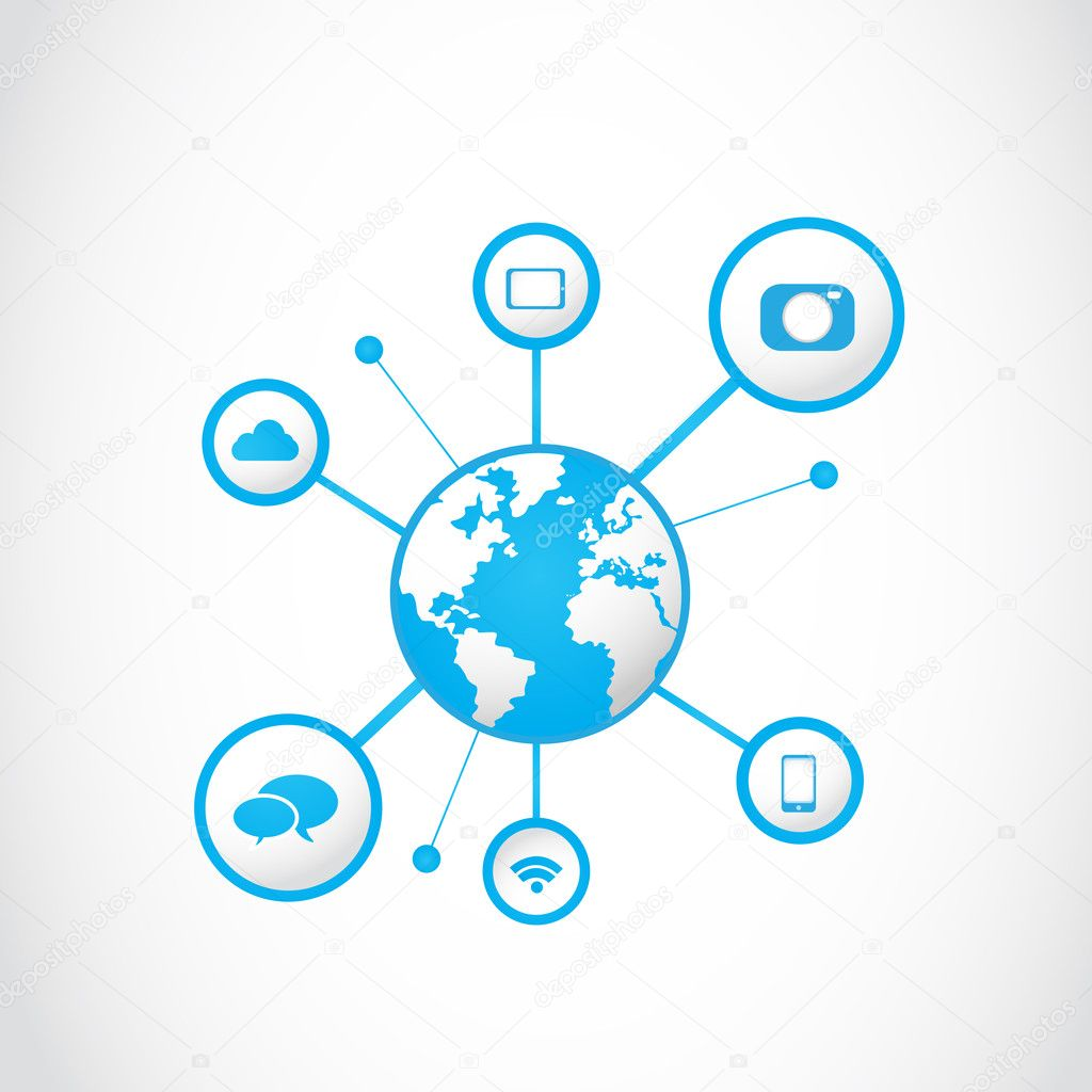 Technology Management Image: Global Multimedia Technology Icons Concept