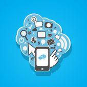 Social media mobil phone icons illustration — Stock Vector