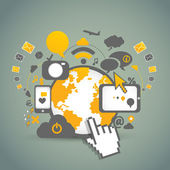 ネットワーク コミュニティ技術 — ストックベクタ