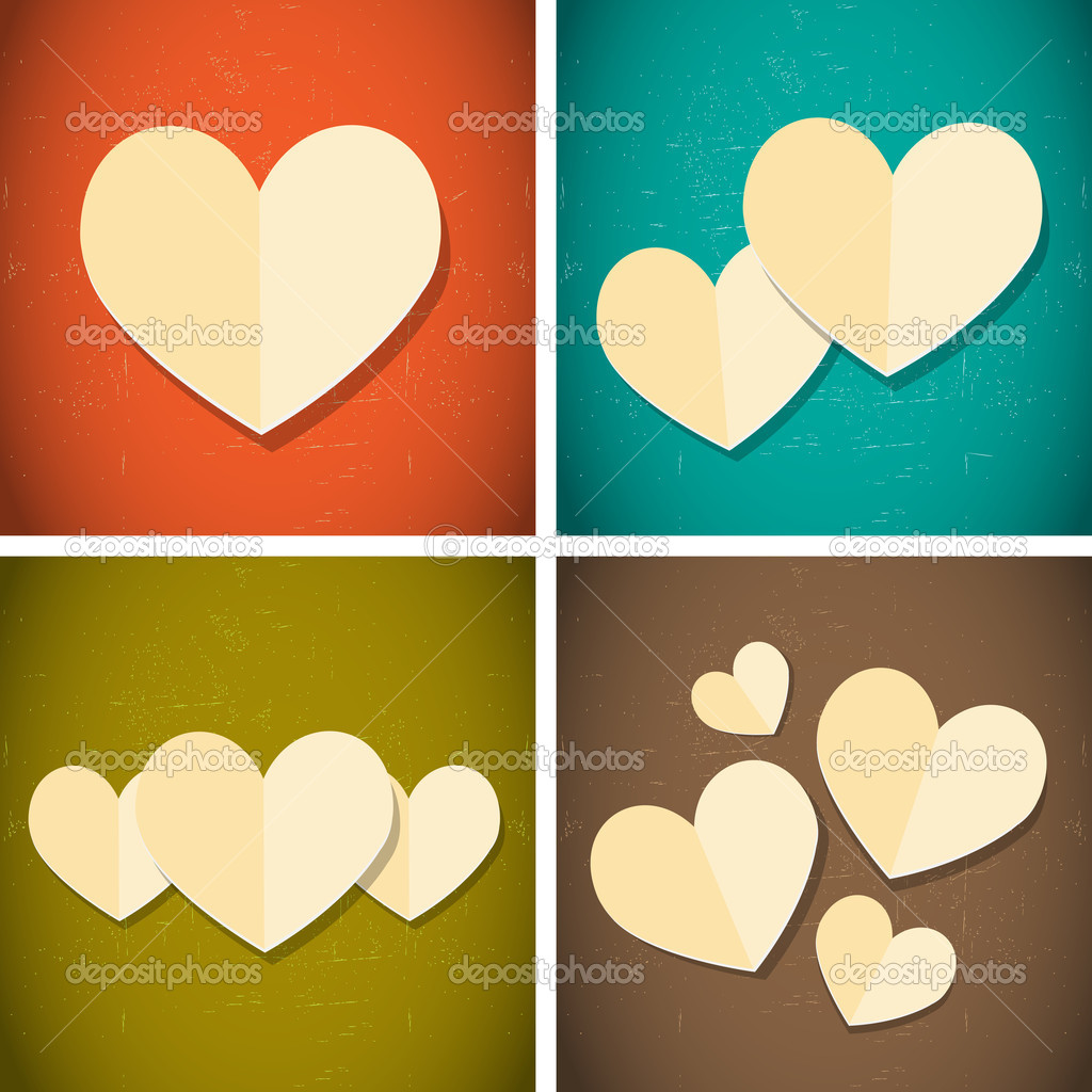 Retro vintage style paper hearts abstract vector background — Grafika wektorowa #19237529