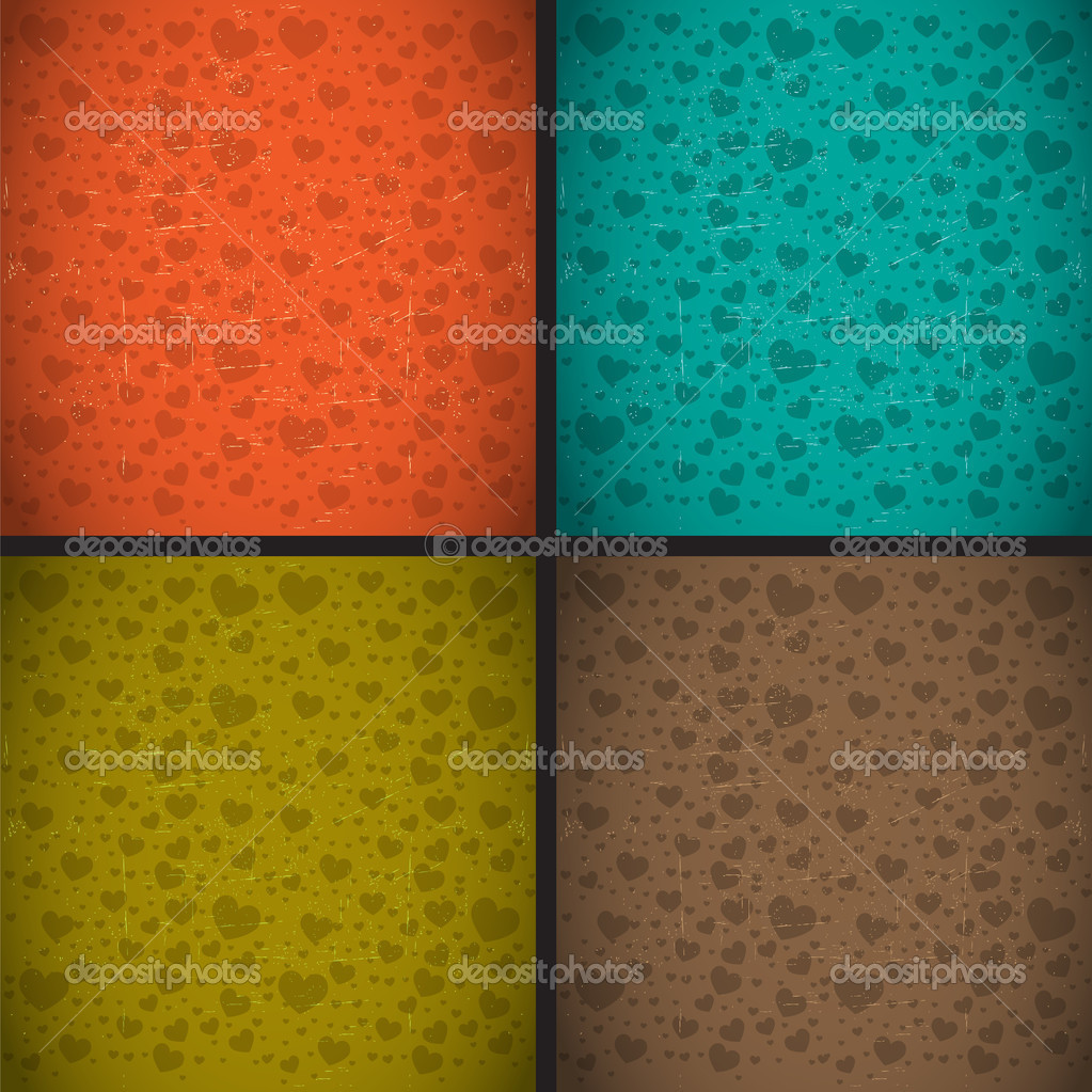 Retro vintage style heart textured background vector set — Stock Vector #19237575