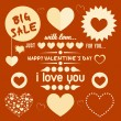 Vintage valentine`s day elements set - Stock Vector