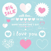 Set of happy valentine's day love hearts — Vettoriale Stock