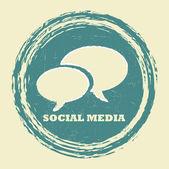 Grunge social media stamp — Stock Vector