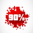 90 percent promotion discount - Stock Vector